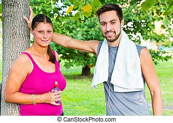 eau, couple, après, sport, boire