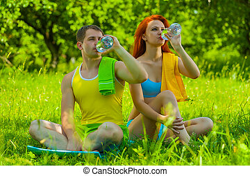 eau, couple, boire, sports
