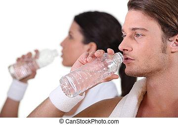 eau, couple, gymnase, boire