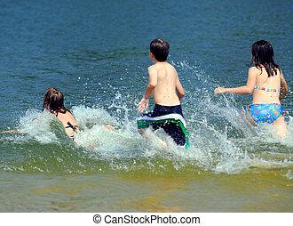 eau, courant, enfants