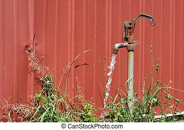 eau, courant, vieux, spigot