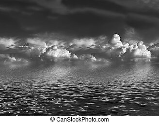 eau, cumulus, sur, nuages