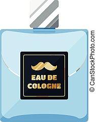Eau de cologne flat icon, rectangular perfume glass bottle with label