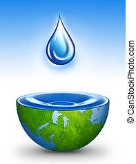 eau, de, monde