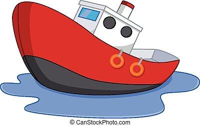 eau, dessin animé, bateau