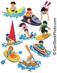 eau, dessin animé, icône, sport
