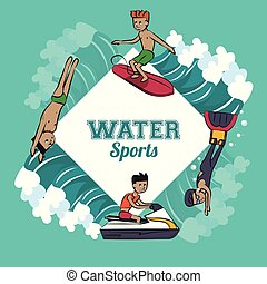 eau, dessin animé, sports