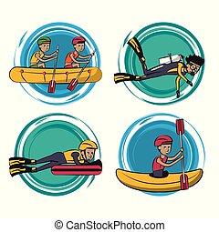 eau, dessins animés, sports