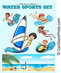 eau, différent, espèce, sports