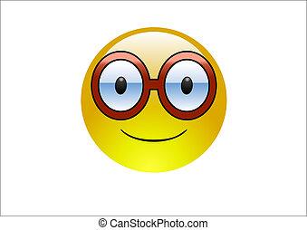 eau, emoticons, -, lunettes