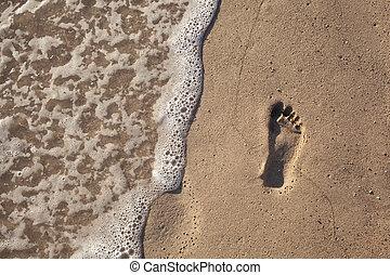 eau, empreinte, sable, vague