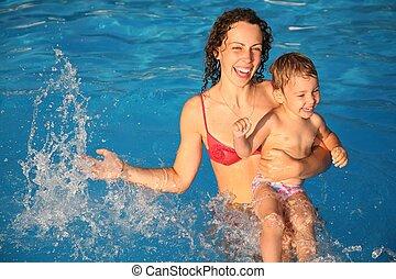 eau, enfant, mère