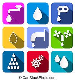 eau, ensemble, coloré, icônes, -, symboles, vecteur