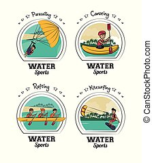 eau, ensemble, dessins animés, sports