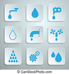 eau, ensemble, icônes, -, symboles, vecteur