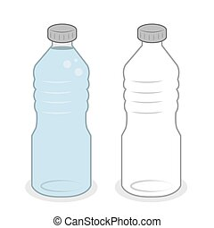 eau, entiers, bouteille, vide