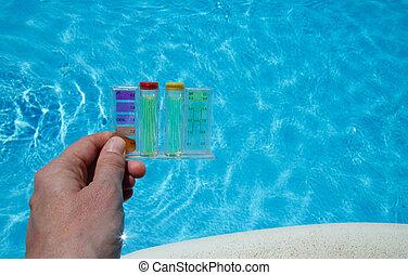 eau, essai, piscine