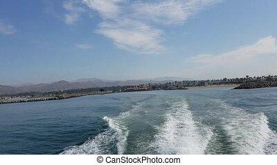 eau, expédier, derrière, sillage, boat.