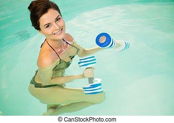 eau, femme, aérobic, séance entraînement