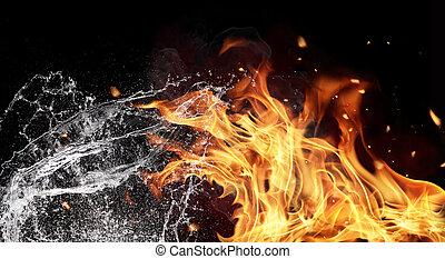 eau feu, éléments, arrière-plan noir