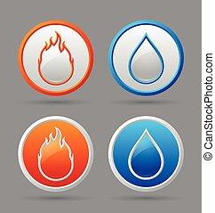 eau feu, icônes