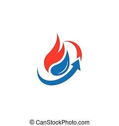 eau feu, résumé, logo