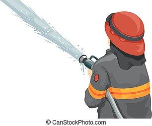 eau feu, tuyau, combattant, homme