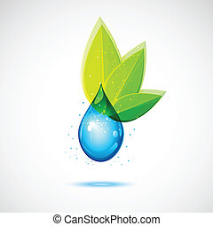 eau, feuille, icône