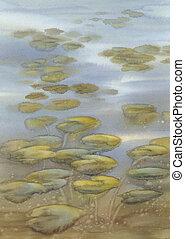 eau, feuilles, lac, aquarelle, fond, lis