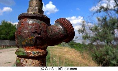 eau, fin, vieux, robinet, haut