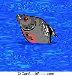 eau, fish, dessin animé, fond, natation