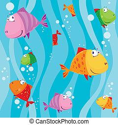 eau, fish, seamless, vagues