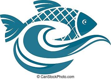 eau, fish, vagues