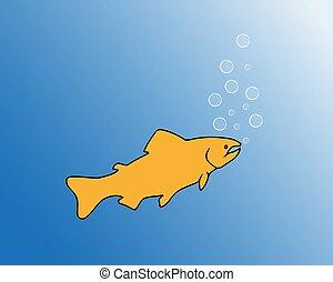 eau, fish, vecteur, illustration, bubbling.