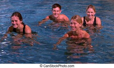 eau, fitness, aérobic, classe