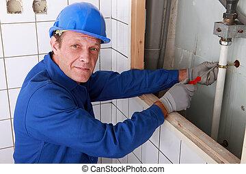 eau, fixation, plombier, salle bains, fourniture