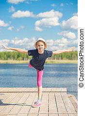 eau, flexible, girl, pratiquer, jetée