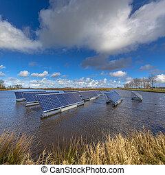 eau, flotter, panneaux, solaire