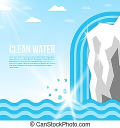 eau, fond, illustration
