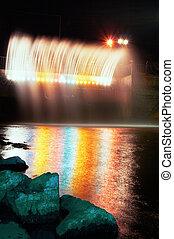 eau, fontaine, coloré, nuit