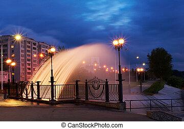 eau, fontaine, nuit