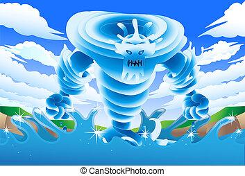 eau, géant, lac, illustration, monstre