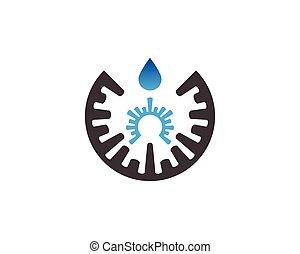 eau, gabarit, goutte, vecteur, logo