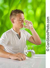 eau, garçon, boire