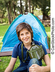 eau, garçon, camping, bouteille