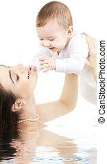 eau, garçon, heureux, bébé, mère