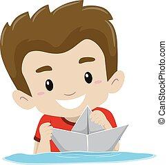 eau, garçon, papier, jouer, bateau