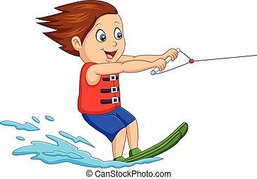 eau, garçon, ski, dessin animé, jouer