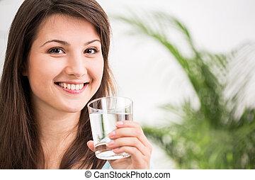 eau, girl, boire, crise, minéral