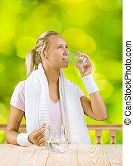 eau, girl, boire